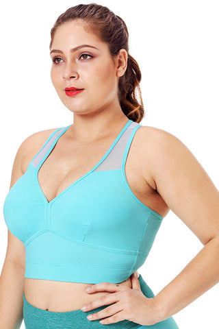 Turquoise Mesh Fitness Sports Bra