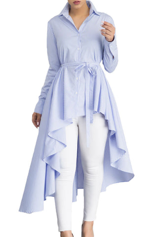 Blue Stripes High Low Belted Long Top