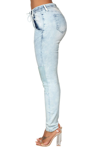 Light Blue Knee Patch Denim Pants