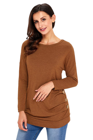 Brown Side Buttoned Long Sleeves Top