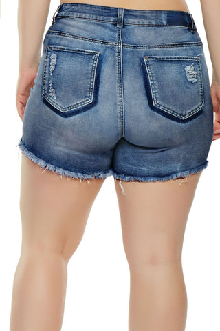 Light Blue Frayed Distress Denim Shorts