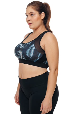 Black Cutout Stylish Printed Sports Bra