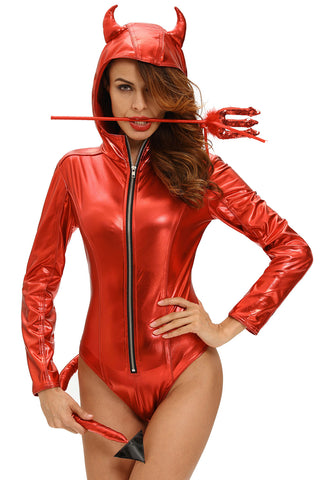 Red Metallic Devilish Hoodie Style Costume