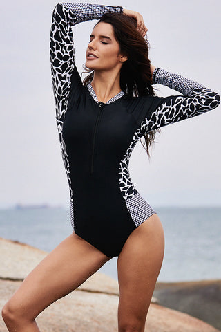 Black Front Zip Long Sleeve Rashguard Suit
