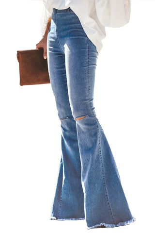 Blue Bell Bottom Distressed Denim Jeans