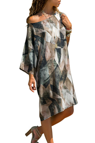 Multicolor Strapless Loose T-shirt Print Dress