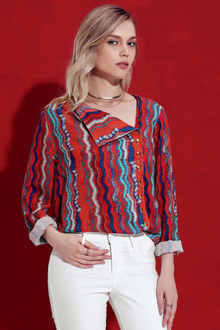 Red Striped High Low Button Shirt Top
