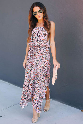 Plum Strapless Cheetah Print Sleeveless Dress