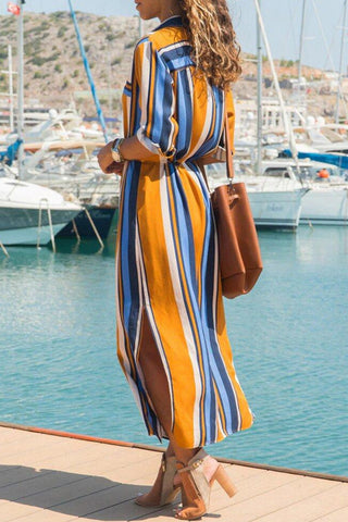 Multicolor Roll Up Sleeve Stripes Dress