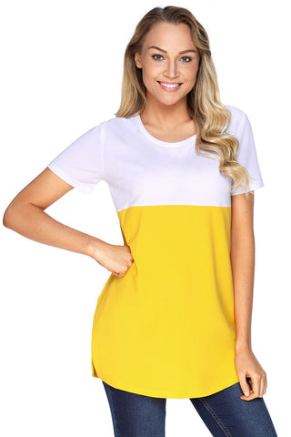 White Yellow Colorblock Pocket Top