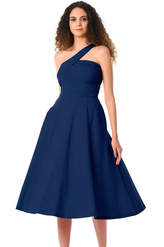 Navy Blue One Shoulder Sleeveless Flared Dress