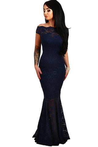 Blue Lace Fishtail Maxi Dress