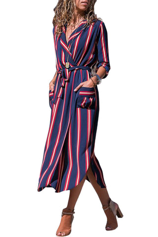 Pink Navy Multi Striped Collared Shirt Dress