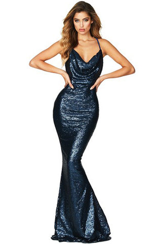 Navy Blue Backless Sequined Deep Neck Gown