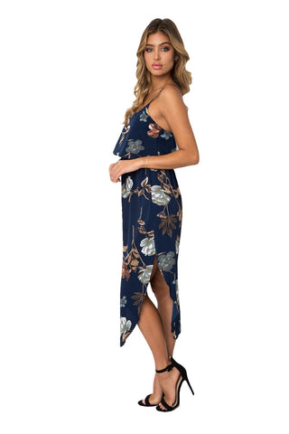 Navy Blue Floral Sleeveless Dress