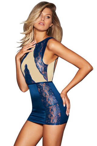 Navy Blue Lace Cutout Mesh Chemise