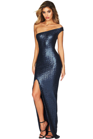 Navy Blue One Shoulder High Split Sequin Gown