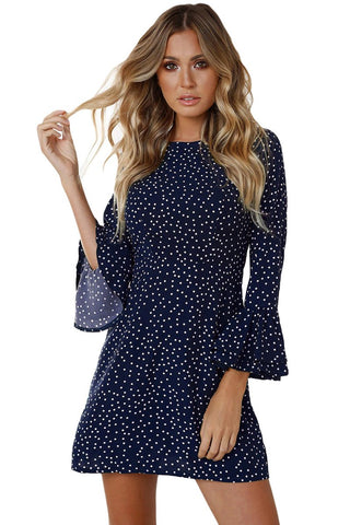 Navy Blue Polka Dots Flared Sleeve Short Dress