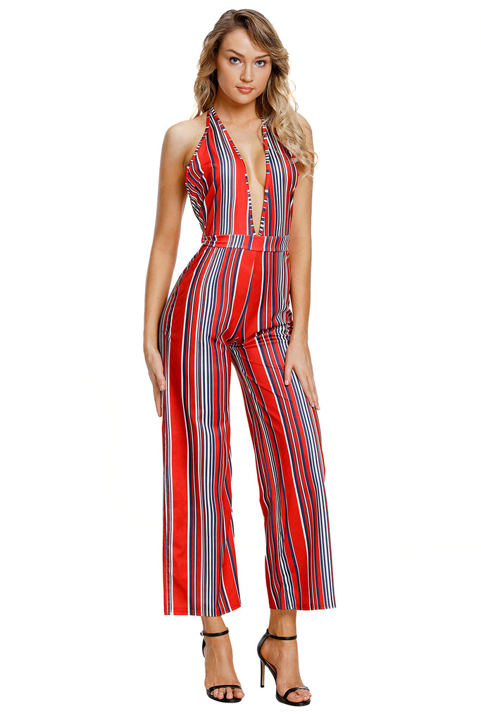 Buy Red Striped Deep Neck Jumpsuit Online India Boldgal