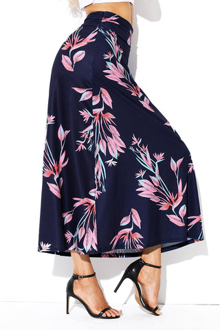 Navy Blue Floral High Waist Long Skirt