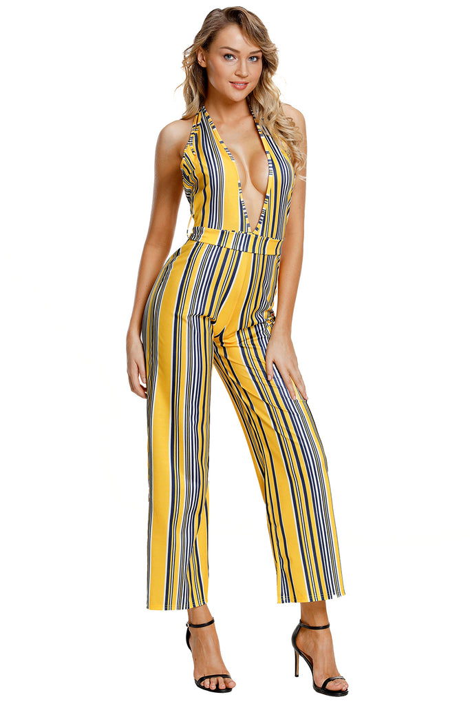 3a724541a4 Buy Yellow Striped Deep Neck Jumpsuit Online India - Boldgal.com