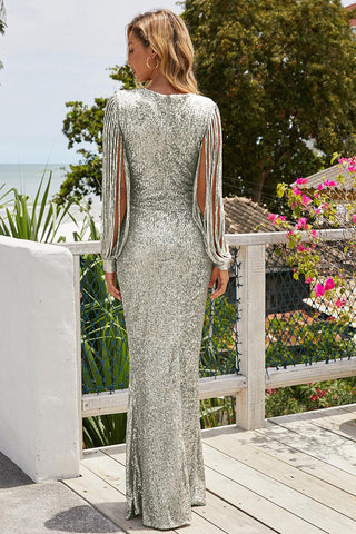 Silver Fringe Sleeve Sequin Evening Gown