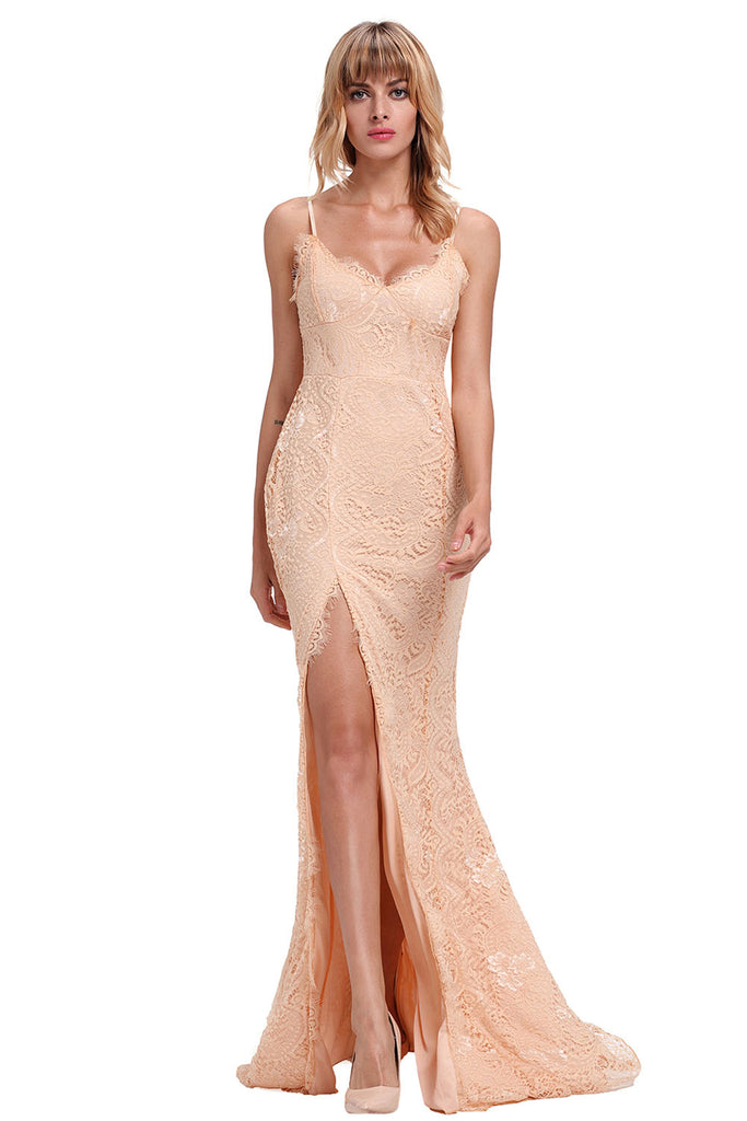 Buy Beige Lace Sleeveless Evening Gown Online India - Boldgal.com