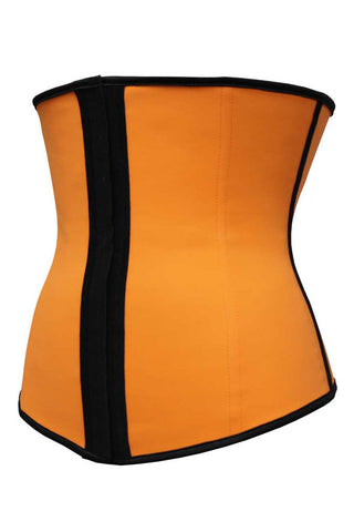 Orange Latex Steel Boned Under Bust Corset - Boldgal.com