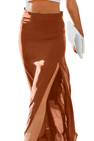 Dark Orange Drop High Waist Side Slit Long Skirt