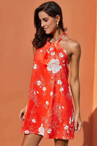 Orange Floral Print Sleeveless Dress