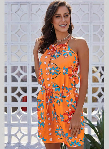 Orange Sleeveless Tank Tunic Print Dress