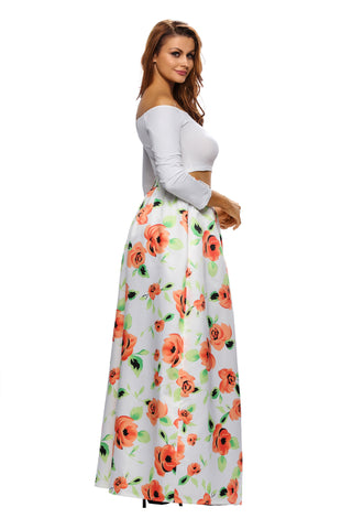Orange Floral Print Casual Maxi Skirt