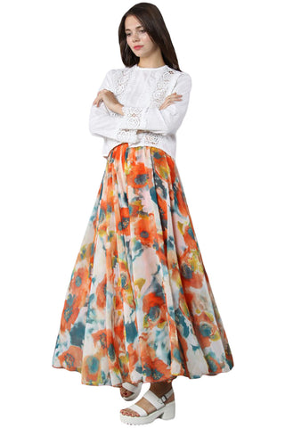 Orange Floral High Waist Long Skirt