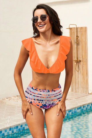 Orange Printed Ruffle High waist Bikini Set