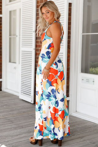 Orange Multicolor Floral Print Maxi Dress