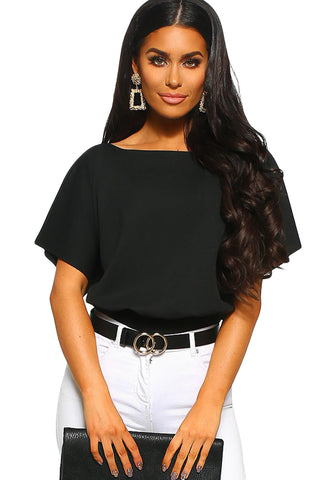 Black Half Sleeves Batwing Bodysuit