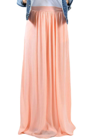 Peach Puff Waist Pleated Long Skirt