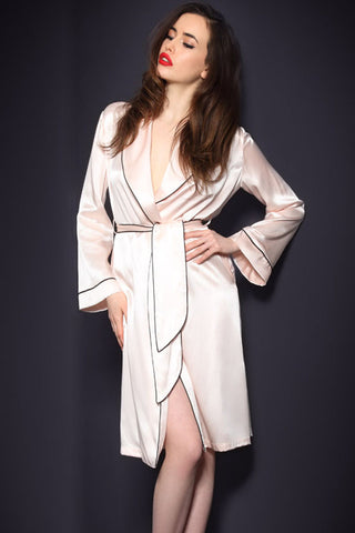 Pink Polyester Gown With Belt Robe