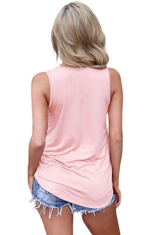 Pink Crisscross V Neck Top