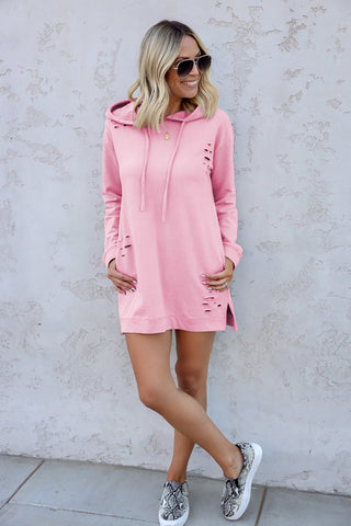 Pink Distressed Hoodie Short Dress