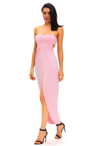 Pink Strapless Draped Dress