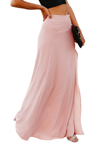 Pink Drop High Waist Side Slit Long Skirt