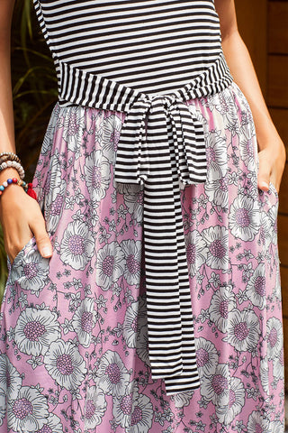 Light Pink Floral White Stripe Pockets Long Dress