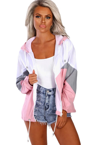 Pink Triple Color Block Sporty Jacket