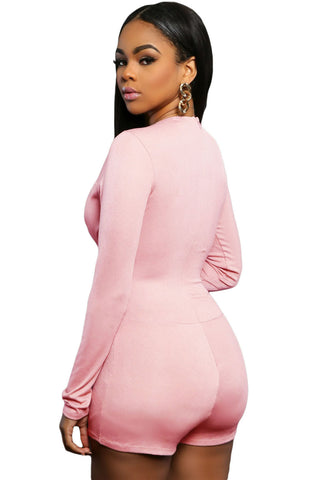 Pink Plunge Short Deep Neck Club Unitard - Boldgal.com