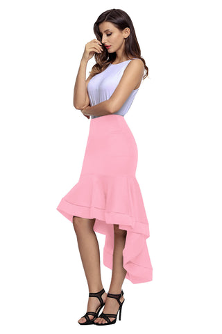 Pink Ruffle High Low Hemline Skirt