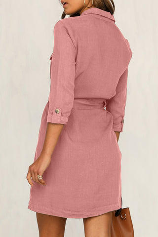 Pink 3/4 Sleeves Belted Shirt Dress