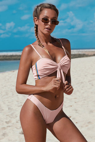Light Pink Ribbed Spaghetti Straps Knot Bikini Set