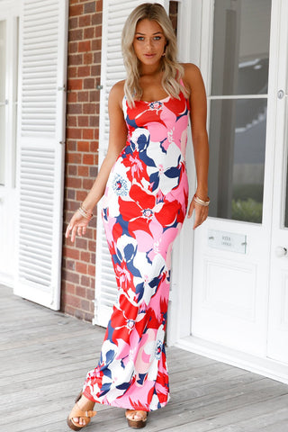Red Multicolor Floral Print Maxi Dress