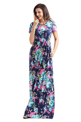 Blue Floral Pocket Design Maxi Dress